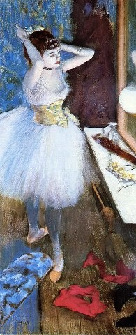 Edgar Degas (French, Impressionism, 1834–1917): Dancer in her Dressing Room, c. 1879. Pastel, 87.9 x 37.7 cm. Cincinnati Art Museum, Cincinnati, Ohio, USA.