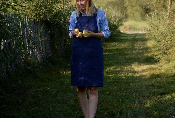 Blue Washed Linen Cross back Apron Linen apron