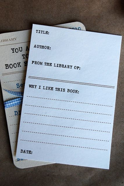 Book Club Party Ideas: This Book Exchange Party has some good ideas, including a retro catalog card invite freebie
