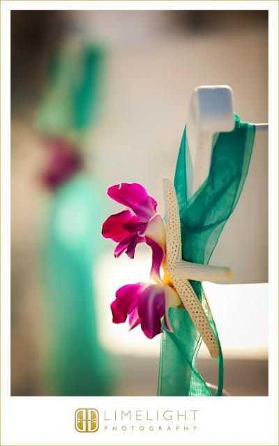 Marco Beach Ocean Resort, mint and magenta, pink flowers, starfish, aisle, chairs, Wedding, Limelight Photography www.stepintothelimelight.com