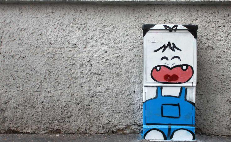 """street art by Pao. """"Hello spank"""". 2014. Milano http://restreet.altervista.org/angoli-desolati-del-panorama-cittadino-diventano-piccole-isole-di-colore/"""
