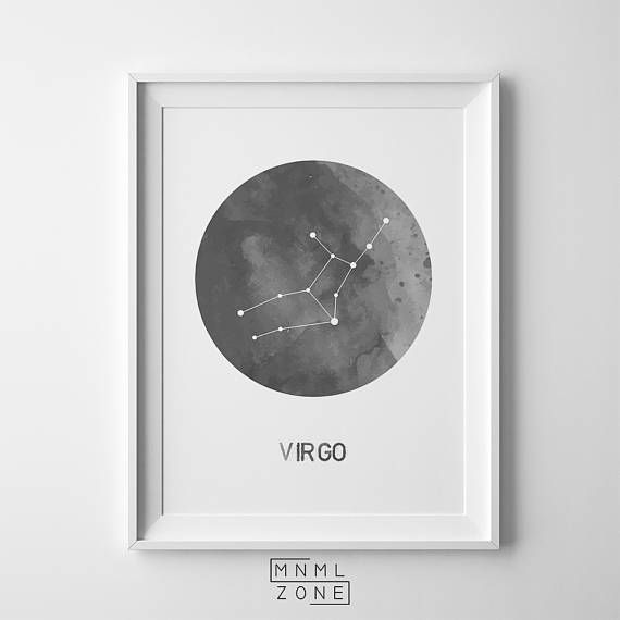 Virgo Wall Print, Gray Watercolor Ink Poster, Zodiac Sign Wall Art, Modern Nordic, Constellation Design, Kids Room Decor, Printable Astronomy, Instant Download, Contemporary Scandi, Gift for Her, Scandinavian Home, Simple, Horoscope