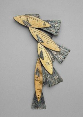 ❥ 'Fish Dream' brooch (1993) by Chicago-based American metalsmith Kiff Slemmons (b. 1944). Collection Boston Museum of Fine Arts. via hunters & gatherers at home~ now, THIS is repurposing!