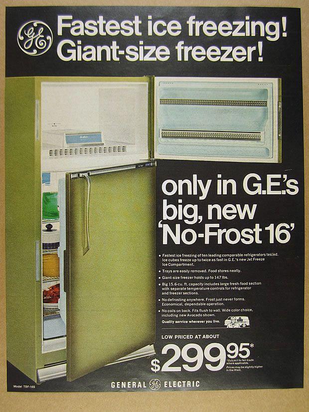 1966 GE General Electric avocado green No-Frost 16 Refrigerator vintage print Ad | eBay