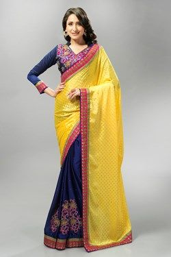Sarees,Admyrin,Navy Blue and Yellow Jacquard and Chiffon Saree With Blou...