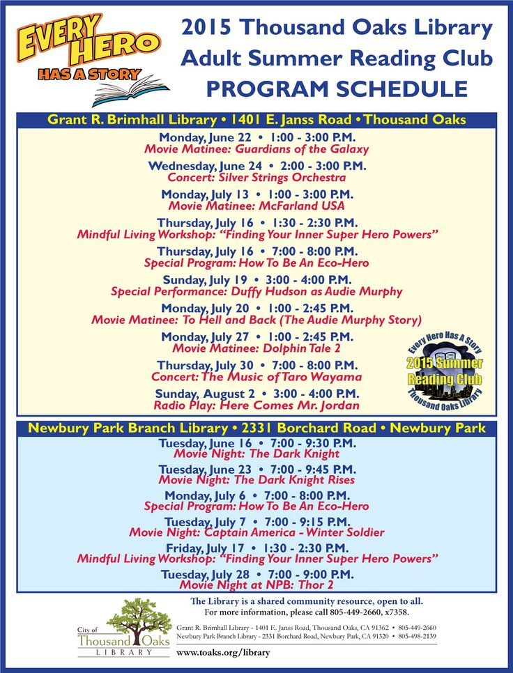 2015 Thousand Oaks Library Summer Reading Club Program