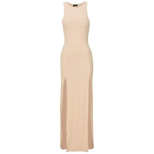 Side Split Detail Textured Nude Maxi Dress found on Polyvore
