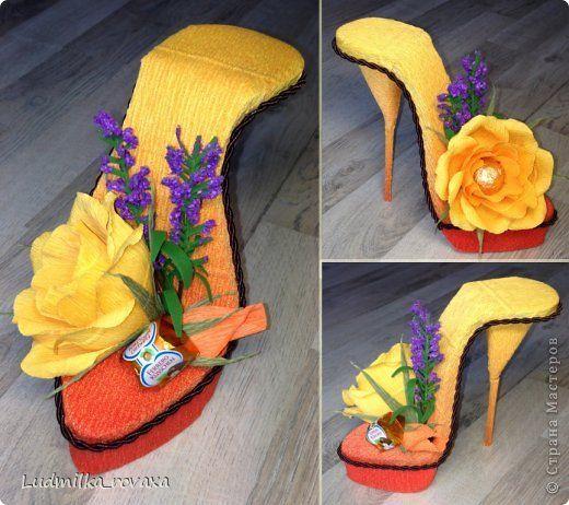 Свит-дизайн 8 марта День рождения Моделирование конструирование Новая коллекция туфелек   Бумага гофрированная фото 16
