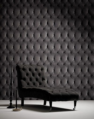 "Chesterfield button back wallpaper in grey [From mineheart.com] -- From: ""Interiors: faking it - in pictures. Fancy an instant New-York style exposed brick wall, elegant Georgian panelling or a library of antique books? Then cheat."""