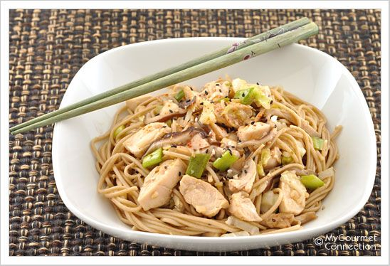 Garlic Soba Noodles with Chicken and Shiitake Mushrooms: Japanese soba noodles combine with an easy stir-fry of chicken, shiitake mushrooms, cabbage and scallions.