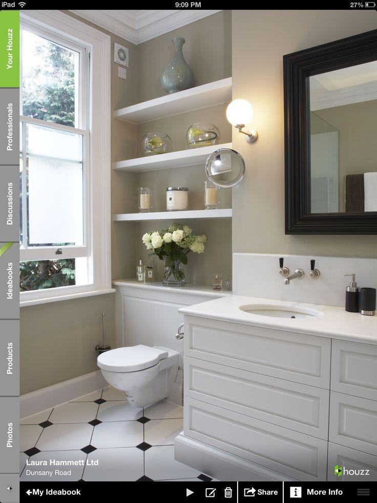 Hall bath tile idea colors black white and green house for Hall bathroom ideas