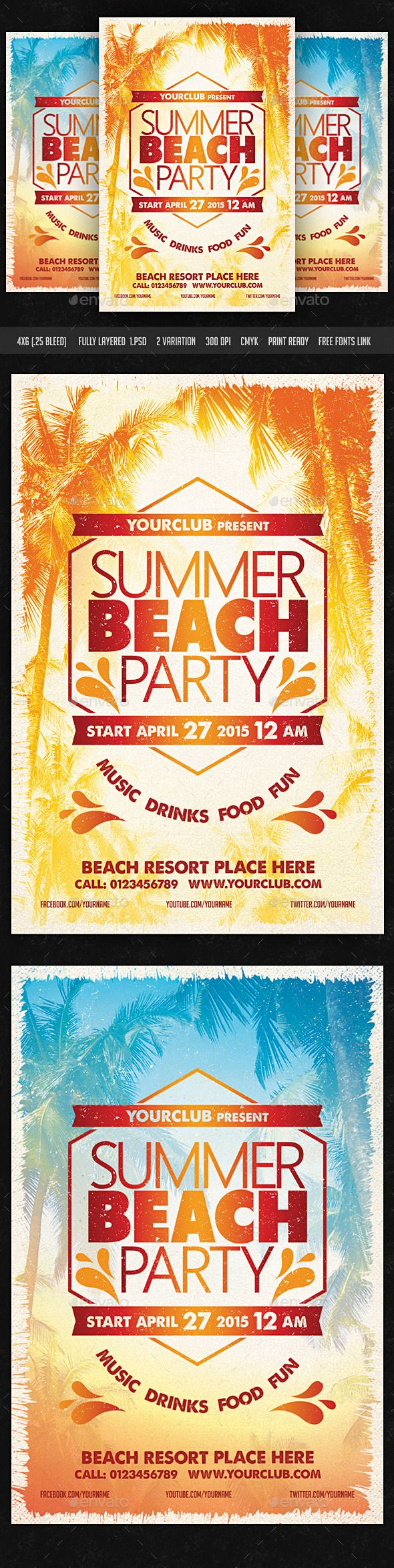 Poster design free download - Summer Beach Party Flyer