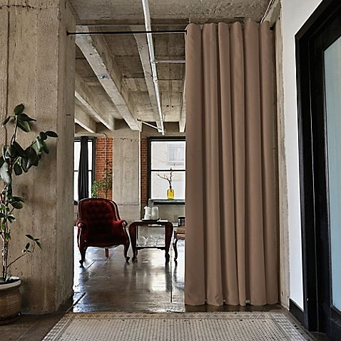 RoomDividersNow Medium Tension Rod Room Divider Kit A with 8-Foot Curtain Panel in Mocha