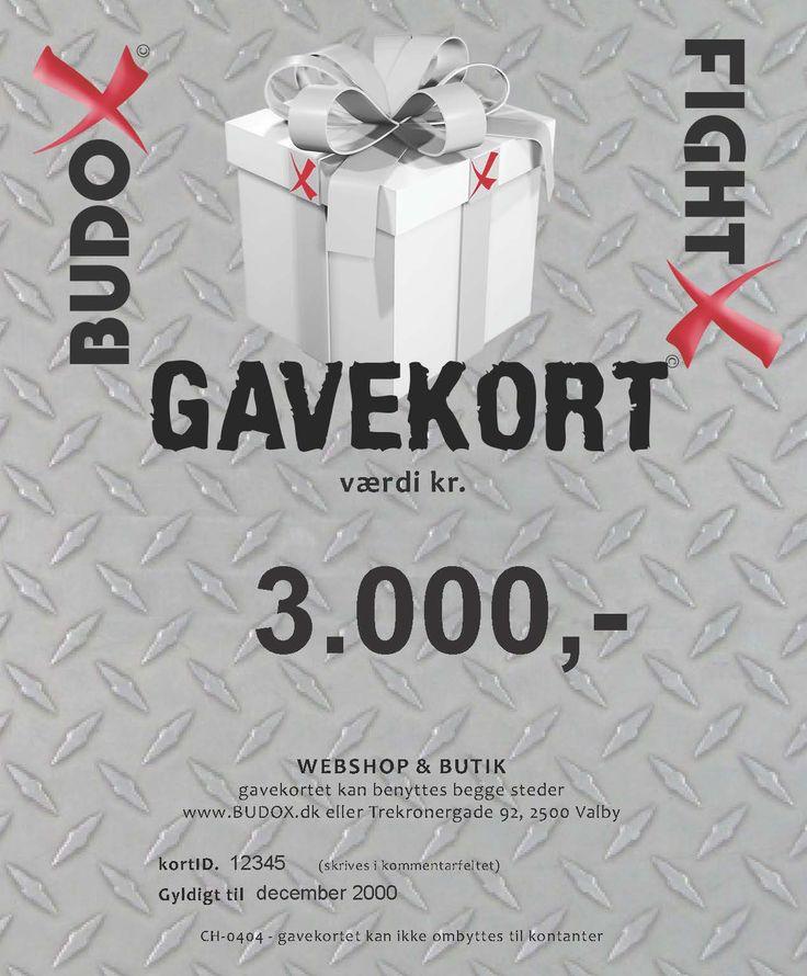 Vi ønsker os altid gavekort til Budoxperten. Det er muligt at give gavekort fra 100 kr. ti 1000 kr.