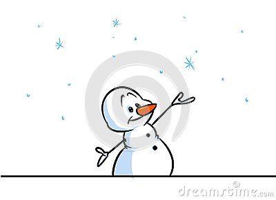 Christmas snowman character snowflake cartoon illustration isolated image