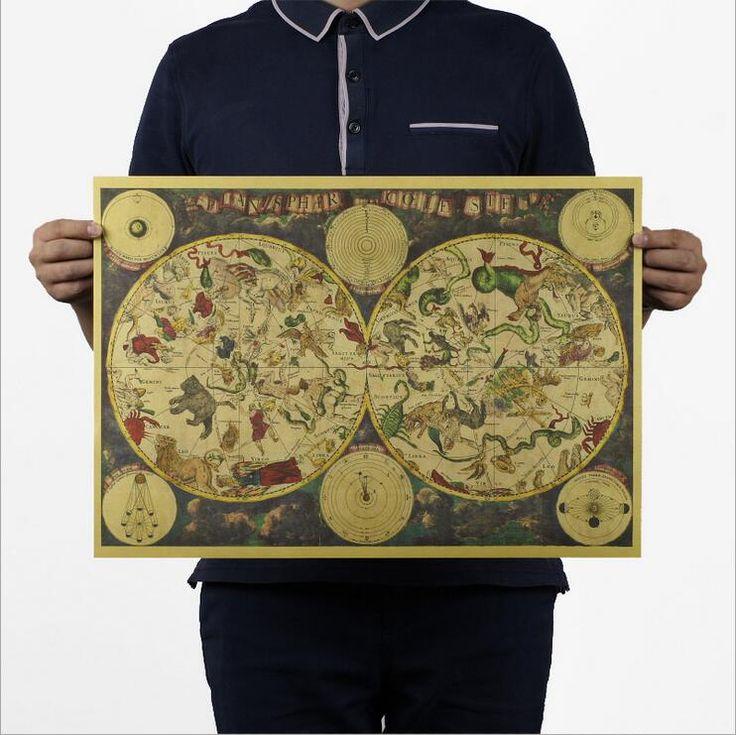 1680 Настенная Живопись Картины Старых созвездие карту зодиака плакат Home Decor Ретро Крафт-Бумага Гостиная Искусство Ремесла карты