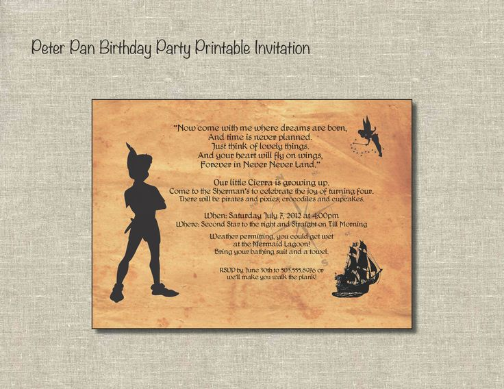 1000 images about peter pan birthday on pinterest for Peter pan invitation template