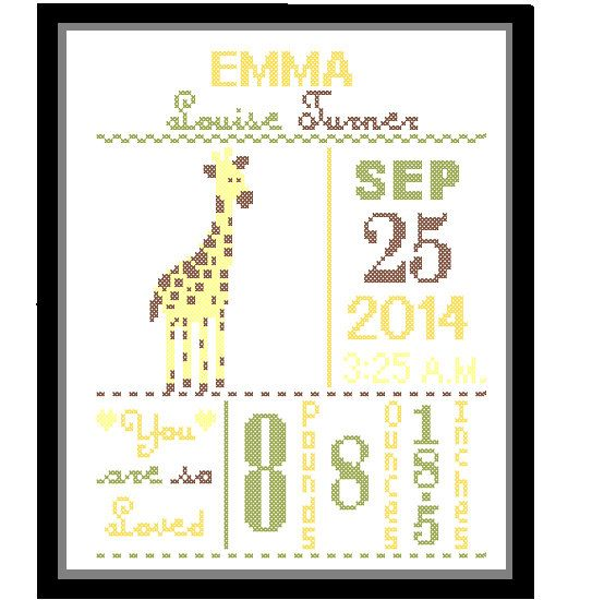 Giraffe Custom Designed Pattern for Baby Boy/Girl Birth Announcement, Birth Record Giraffe in Yellow, green, brown for a Nature Woodland Nursery