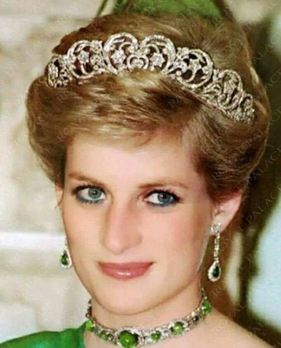 Royal Crown Silver Princess Diana Heart Crown Victorian Leaf Spencer Tiara Wedding Crow Princess Diana Fashion Princess Diana Family Princess Diana Photos