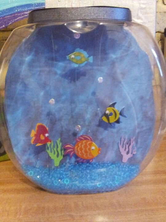 Fish tank Valentine box. Made from an empty Tide pods container...