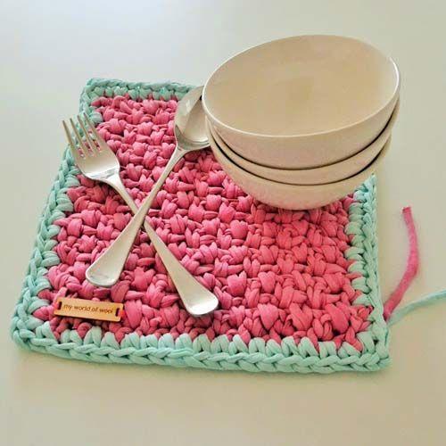T-Shirt Yarn Crochet Place Mat