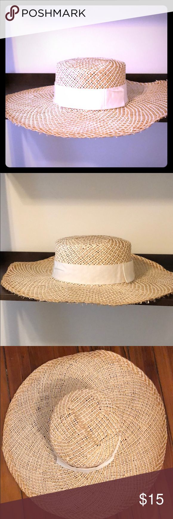 Vintage Ladies Sun Hat, never worn, made in Italy Beautiful ladies sun hat made by Lord and Taylor.  Made in Italy.  White ribbon around brim with bow.  Perfect condition, never worn. Lord & Taylor Accessories Hats