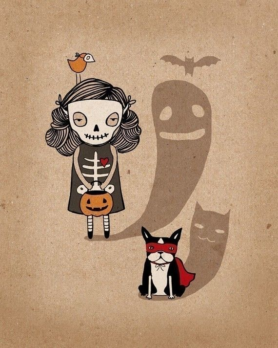 Trick or treat: girl with boston terrier. MultiplePersonality on Etsy
