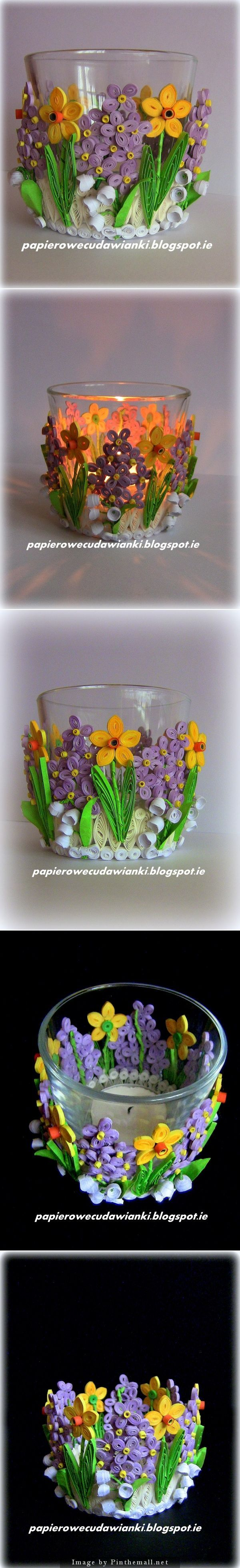 TEA CANDLE GLASS QUILLED http://papierowecudawianki.blogspot.ie/2014/03/quilling-swiecznikalbo-osonka-na.html - created via http://pinthemall.net #Crafts