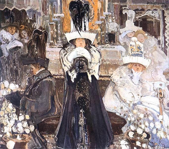 Painting by Witold Wojtkiewicz    Tytuł: Medytacje. Popielec.  English: Meditations. Ash Wednesday.