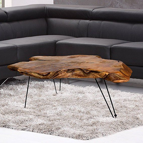 Amazon Com Natural Wood Edge Teak Coffee Cocktail Table With Clear Lacquer Finish Kitchen Unique Coffee Table Design Natural Wood Table Cool Coffee Tables