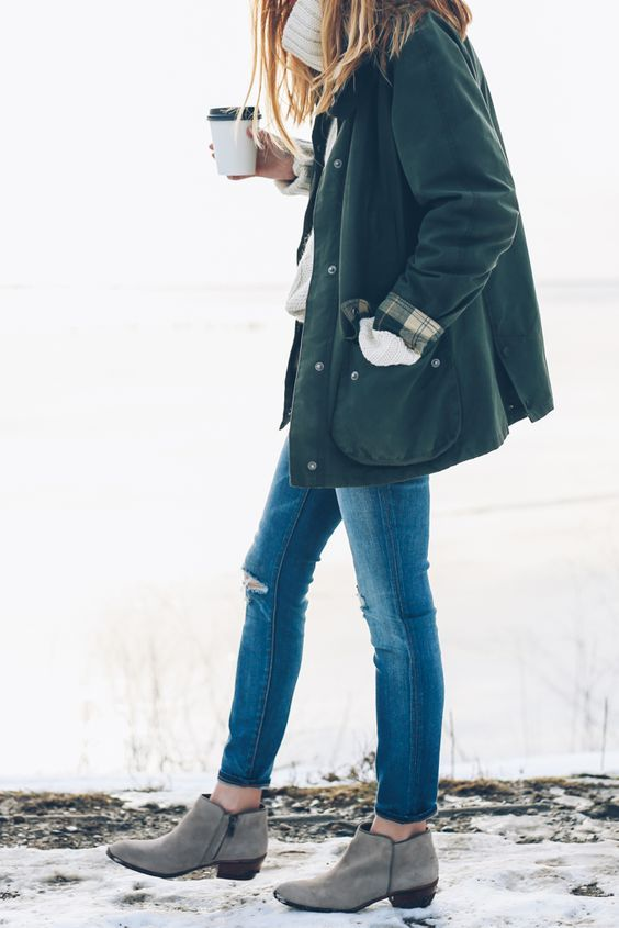Winter Style // Barbour jacket, skinny jeans and ankle boots.