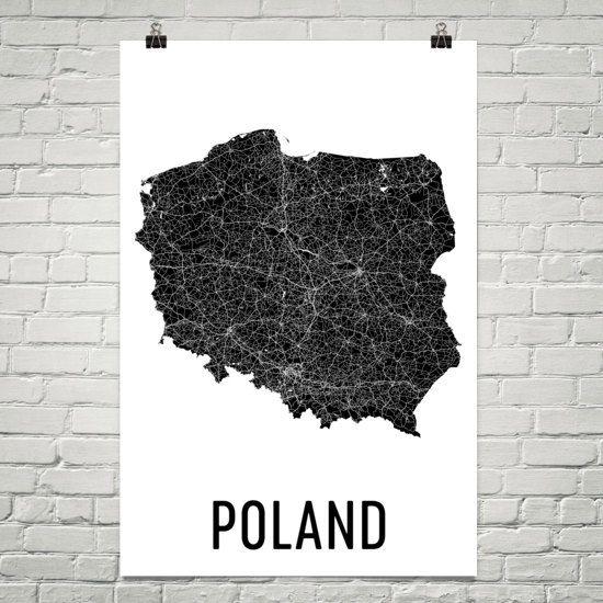 Poland Map Map of Poland Poland Art Polish Poster by ModernMapArt