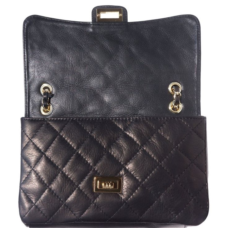 "QUILTED LEATHER BAG ""Be Exclusive"" WITH BRAIDED LEATHER-CHAIN STRAP"