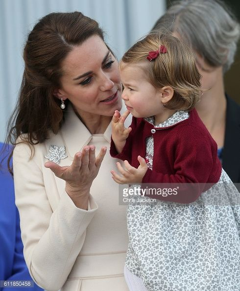 Catherine Duchess of Cambridge and Princess Charlotte wave leave from Victoria Harbour to board a seaplane on the final day of their Royal Tour of...