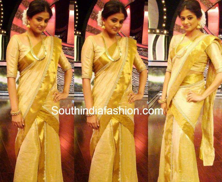 Priyamani in Kerala Traditional Half Saree ~ Celebrity Sarees, Designer Sarees, Bridal Sarees, Latest Blouse Designs 2014