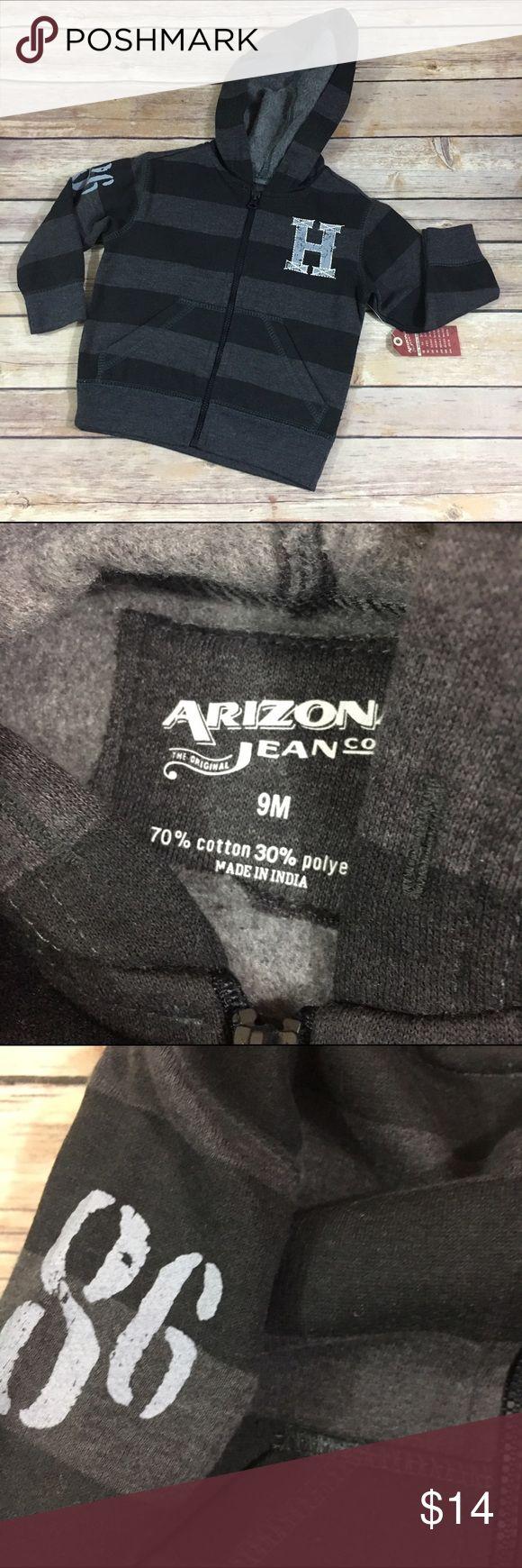 Arizona NEW NWT Black Gray Stripe Hoodie 9 Mo Arizona NEW NWT Black Gray Stripe Hoodie 9 Mo  Super cute.  New with tags.  Zip front.  #new #nwt #stripe #hmonogram #gray #black #hoodie #arizona #striped #stripes Arizona Jean Company Shirts & Tops Sweatshirts & Hoodies