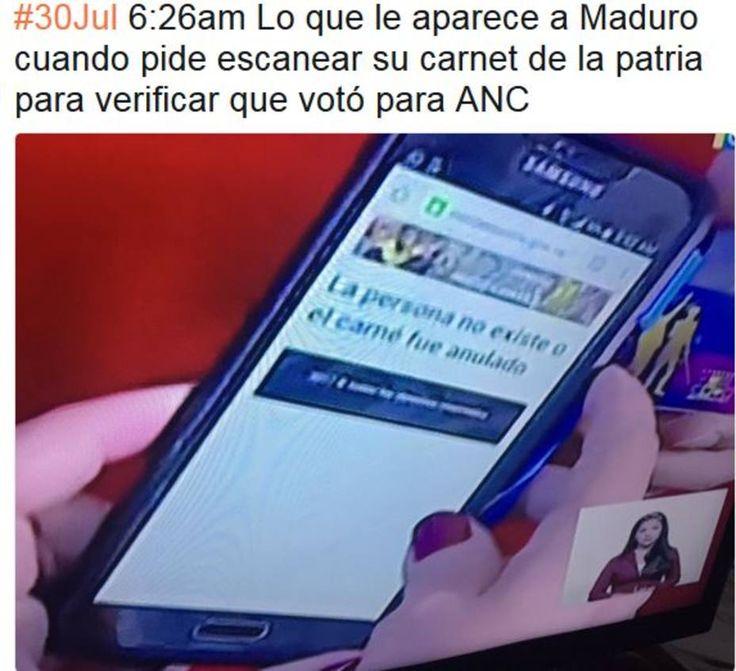El insólito mensaje que le apareció a Maduro después de votar por la ANC VENEZUELA.-El presidente Nicolás Maduro fue el primero en votar este domingo en las elecciones para la asamblea nacional constituyente (ANC);