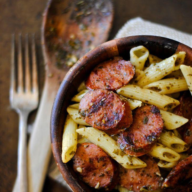 Grilled Kielbasa and Pesto Penne Recipe Main Dishes with penne pasta, kielbasa, pesto sauce, dried basil, dried oregano, garlic powder, salt, pepper