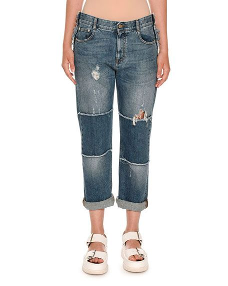 STELLA MCCARTNEY Tattered Patchwork Boyfriend Jeans, Dark Classic Blue. #stellamccartney #cloth #