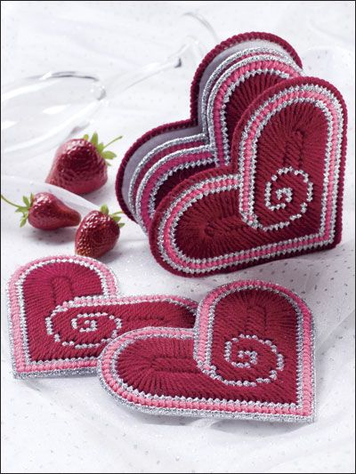 Plastic Canvas - Coaster Patterns - Seasonal & Holiday Patterns - Heart Coasters