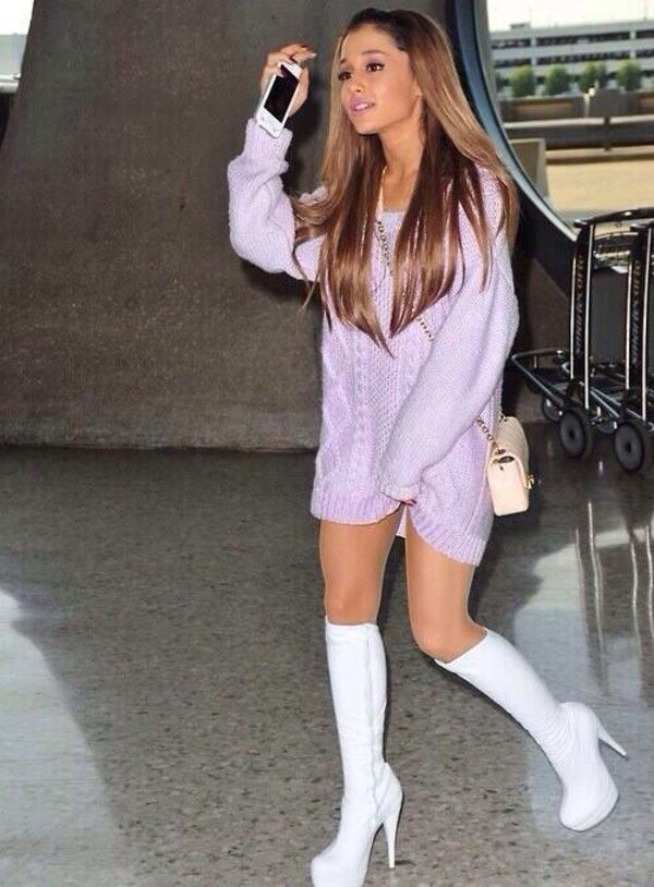Shoes: high knee, high white ariana grande gogo boots high heels dress sweater