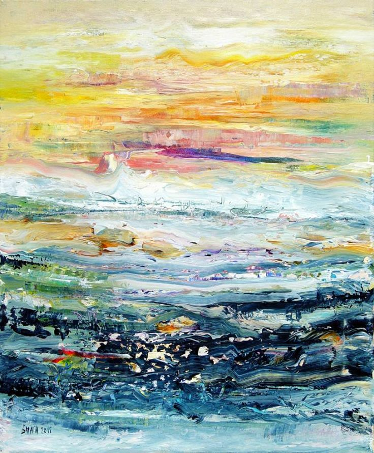 Buy SUNSET, a Acrylic on Canvas by Radek Smach from Czech Republic. It portrays: Water, relevant to: Positive Energy, sea, blue, sunrise, sunset, water, waves, yellow, abstract expressionism, impresionism, clouds, beach scene Original abstract layered painting on canvas.  Ready to hang. No framing required (it can be framed).  The sides of the painting are painted deep indigo blue.