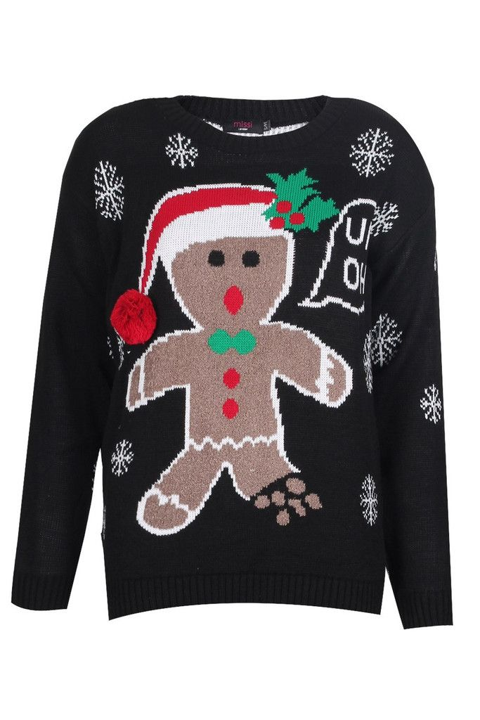 Ladies Gingerbread Man Knitted Christmas Jumper