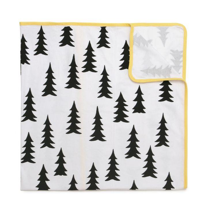 Blanket . Baby - Gran / Yellow Trim