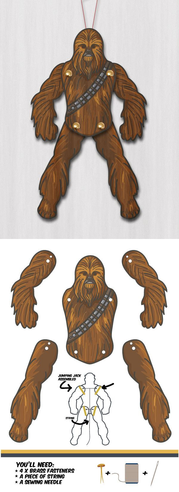 DIY Jumping Jack Printables from M Gulin.You can in the DIY Jumping Jack Chewbacca here. There are some jumping jacks in black and white that you can color in yourself.Here's just a sampling of the free jumping jack printables at M Gulin's site.