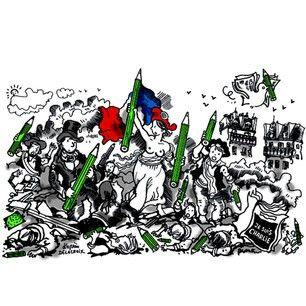 Plantu d'après Delacroix