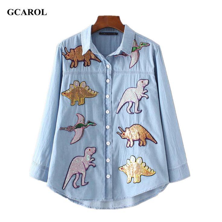 GCAROL 2017 Women New Dinosaurs Sequins Patch Denim Shirt Appliques High Quality Bling Bling Blouse Tops For 4 Season