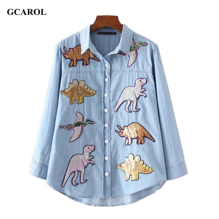 GCAROL 2017 Women New Dinosaurs Sequins Patch Denim Shirt Appliques High Quality Bling Bling Blouse Tops For 4 Season