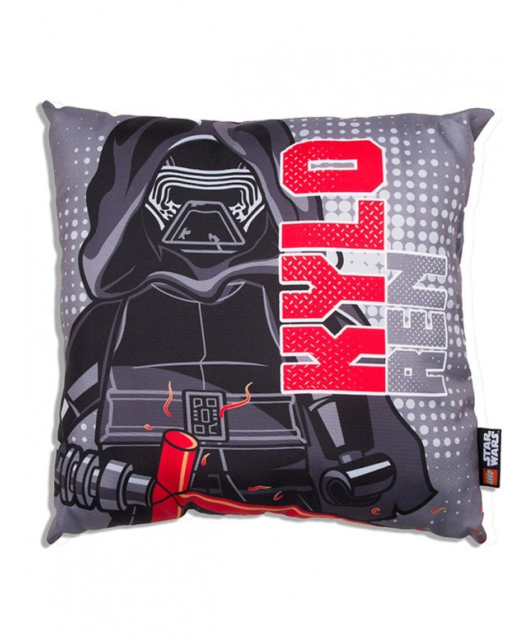 This cool Lego Star Wars Seven Canvas Cushion features Lego Kylo Ren on one side and a Stormtrooper on the other.