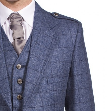 Eric. Luxury Argyle tweed kilt jacket and 5 button waistcoat. In Cheviot Charcoal. (525 GBP)